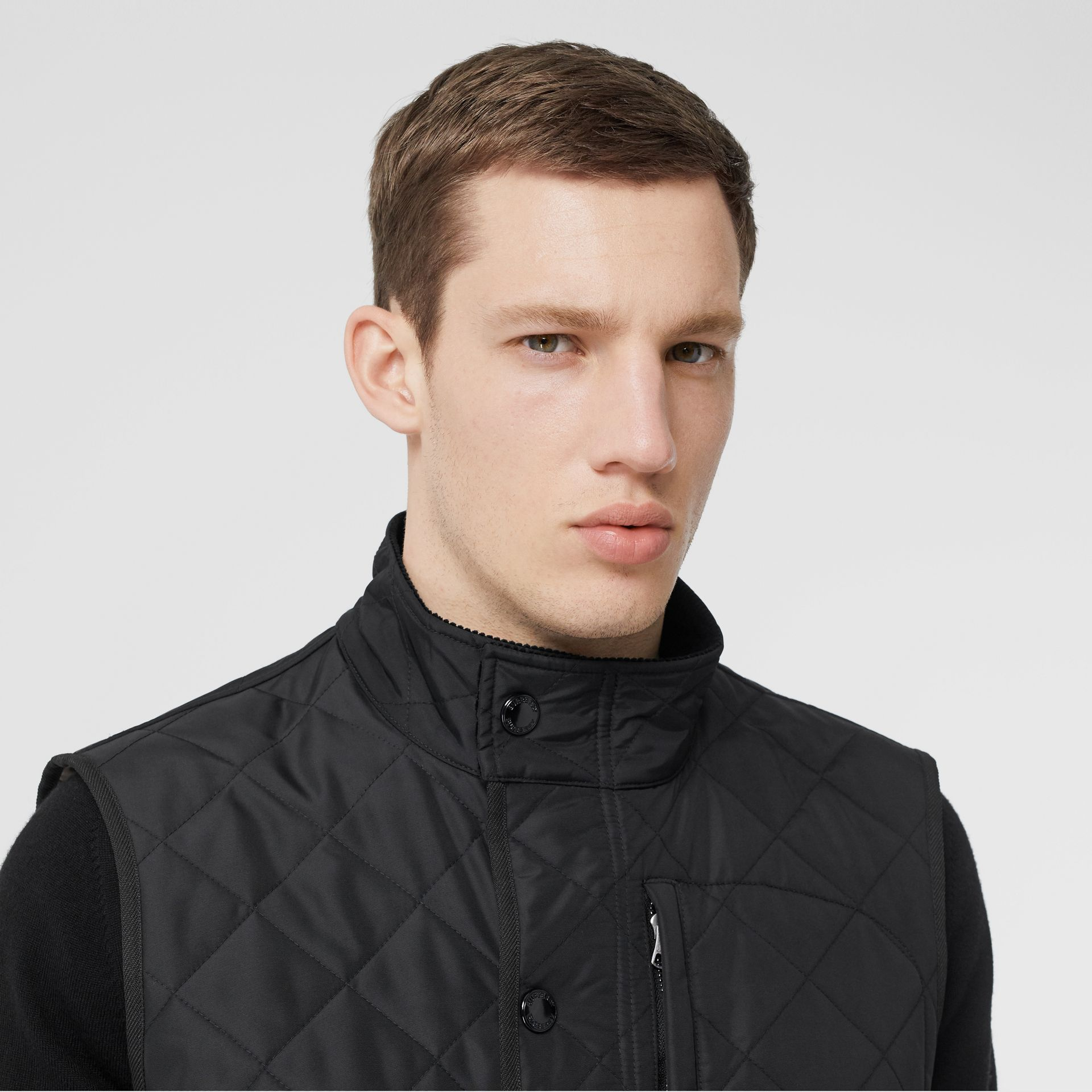 Diamond Quilted Thermoregulated Gilet in Black - Men | Burberry - gallery image 1