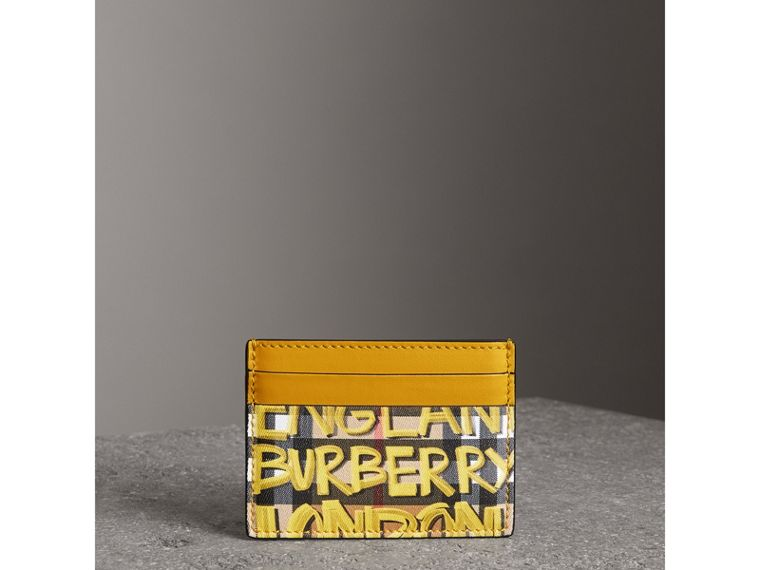 Graffiti Print Vintage Check Leather Card Case in Yellow | Burberry - cell image 4