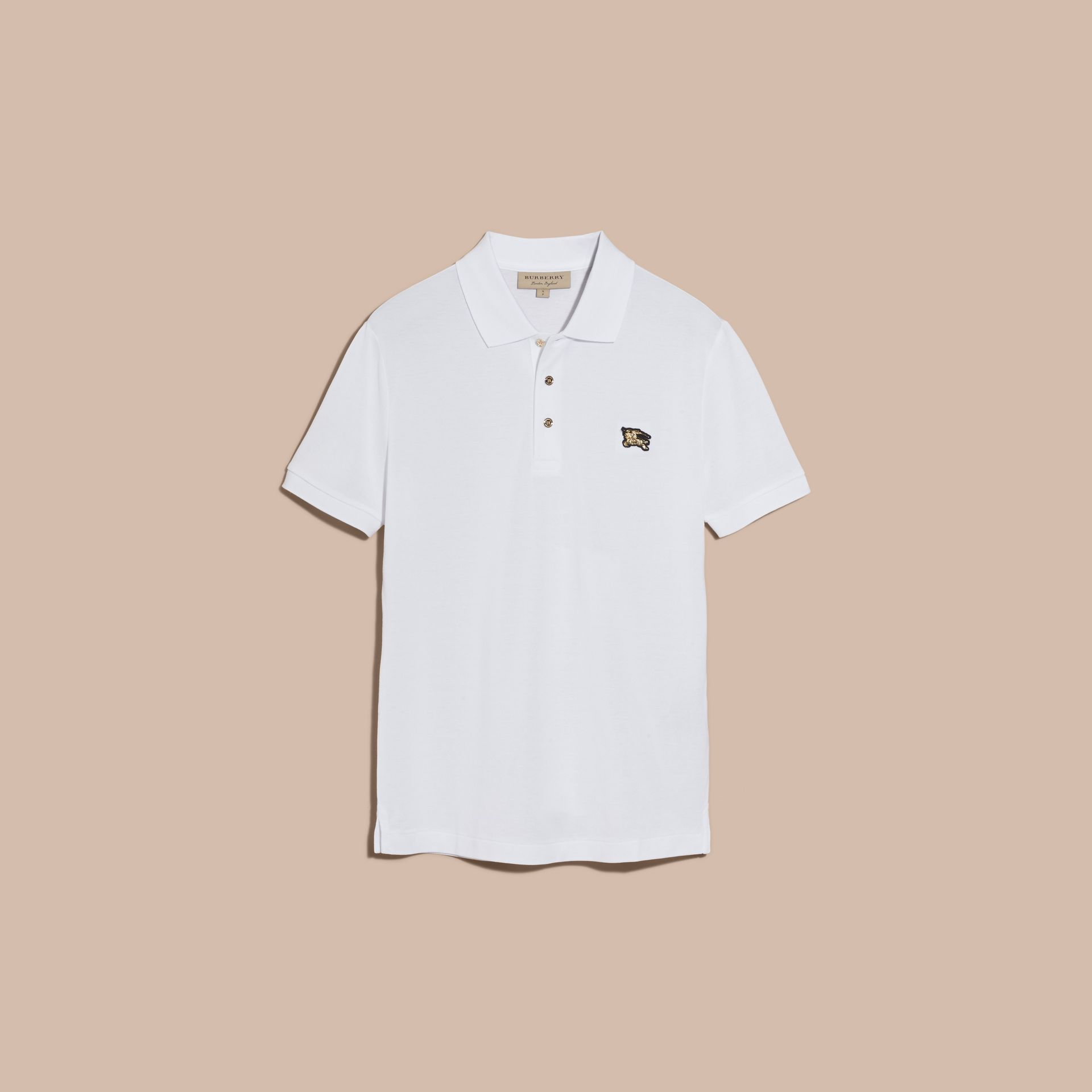 Cotton Piqué Polo Shirt in White - Men | Burberry Canada - gallery image 4