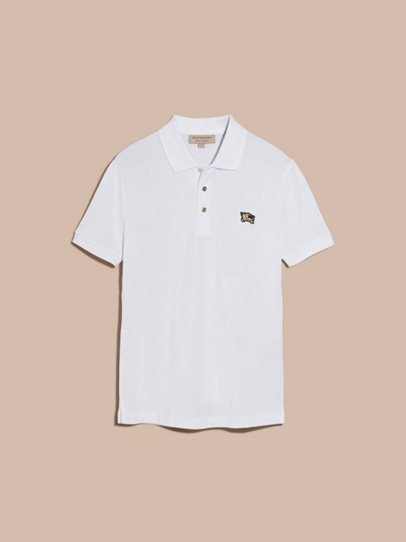 White Fitted Mercerised Cotton-Piqué Polo Shirt White - cell image 3