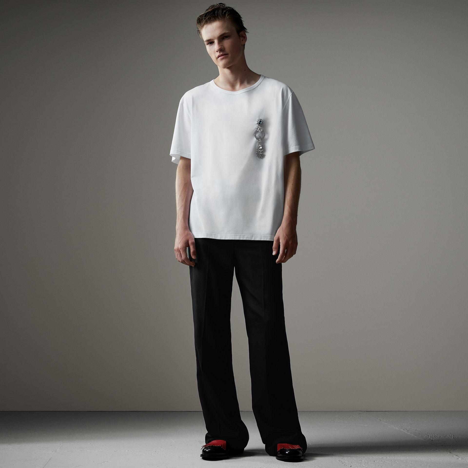 Boxy Fit T-shirt with Crystal Brooch in Optic White - Men | Burberry - gallery image 0