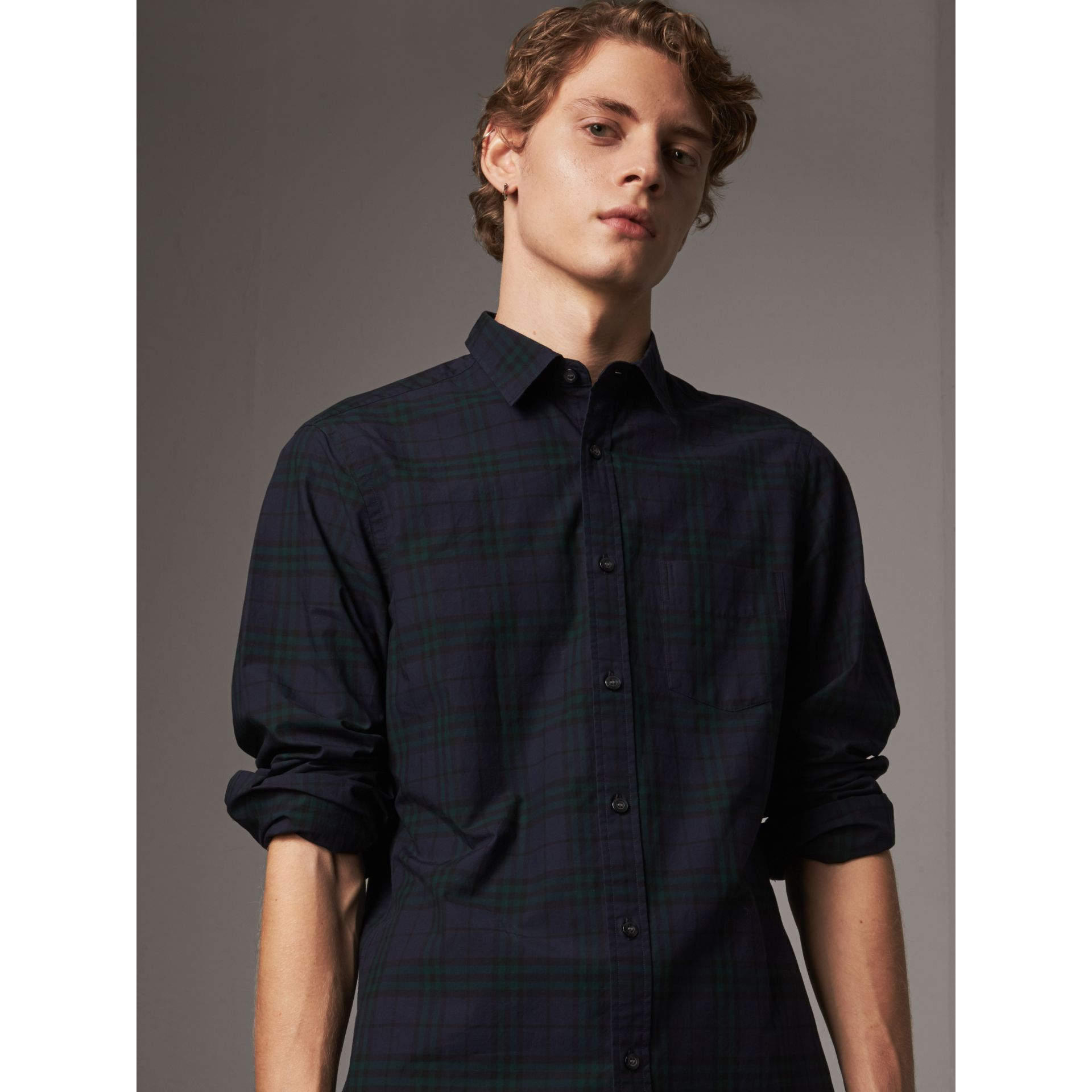 Check Cotton Shirt in Ink Blue - Men | Burberry - gallery image 4