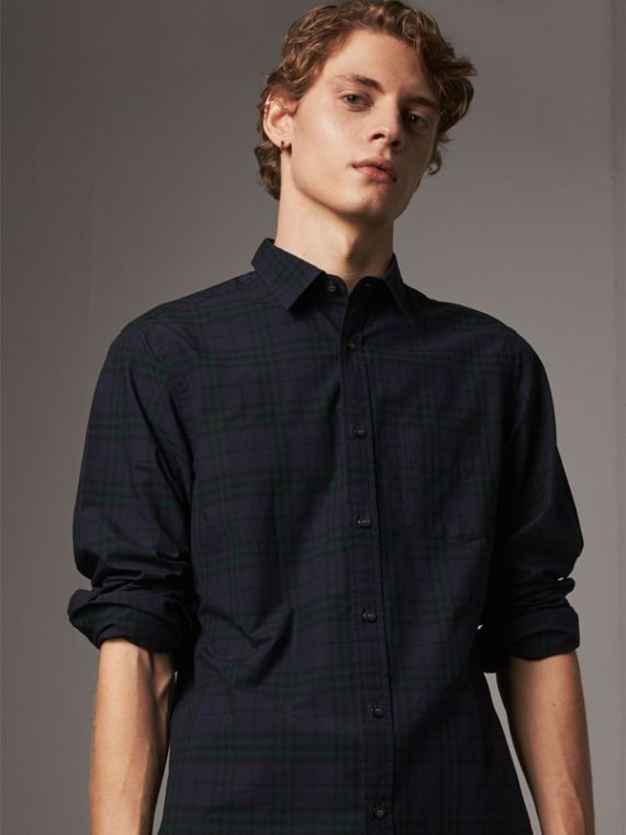 Check Cotton Shirt in Ink Blue