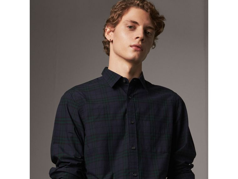 Check Cotton Shirt in Ink Blue - Men | Burberry United States - cell image 4