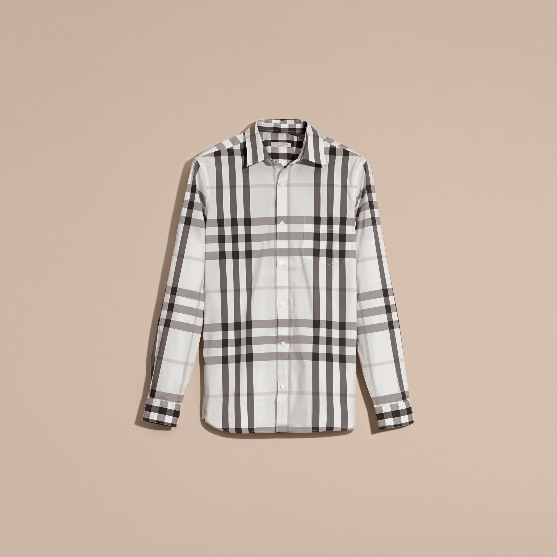 Natural white Check Stretch Cotton Shirt Natural White - gallery image 2