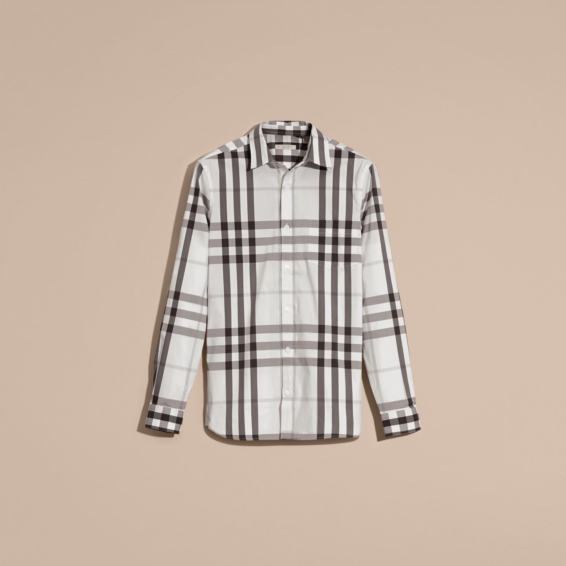 Bianco naturale Camicia in cotone stretch con motivo check Bianco Naturale - immagine della galleria 2