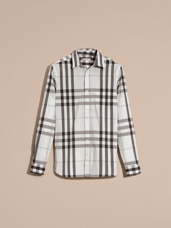 Natural white Check Stretch Cotton Shirt Natural White - cell image 2