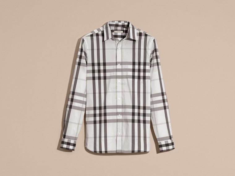 Bianco naturale Camicia in cotone stretch con motivo check Bianco Naturale - cell image 1