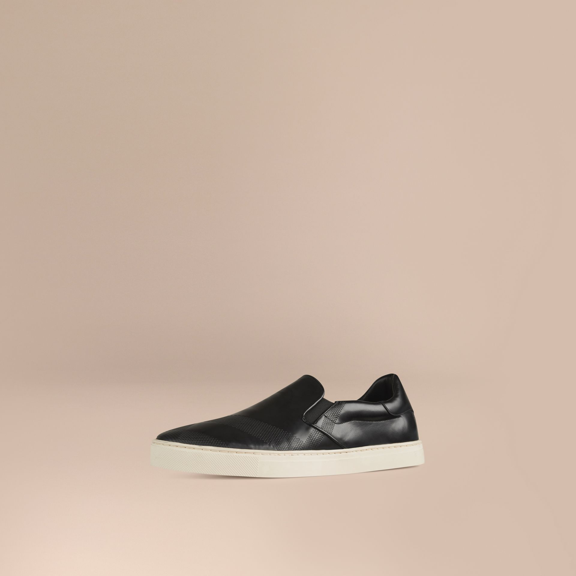 Black Check-embossed Leather Slip-on Trainers - gallery image 1