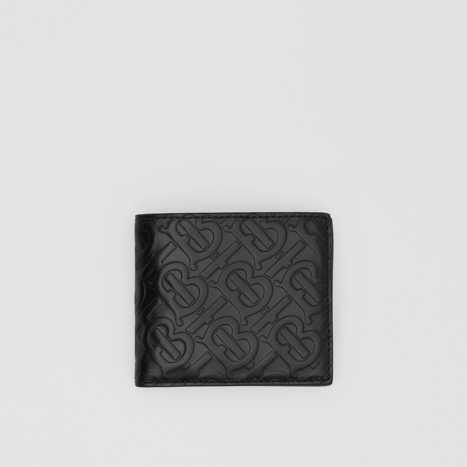 Monogram Leather International Bifold Coin Wallet in Black - Men | Burberry United States - gallery image 0