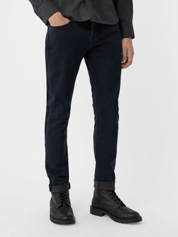 Slim Fit Stretch Denim Jeans in Dark Indigo