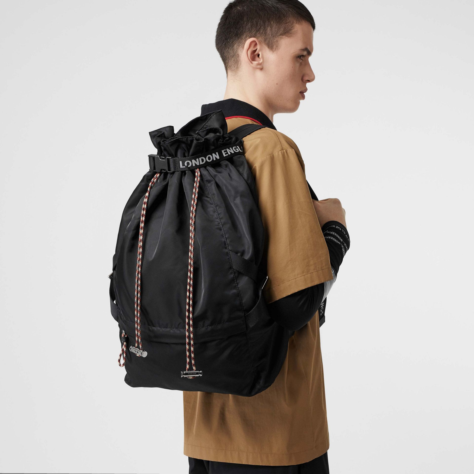 Logo Detail Nylon Drawcord Backpack in Black - Men | Burberry - gallery image 2