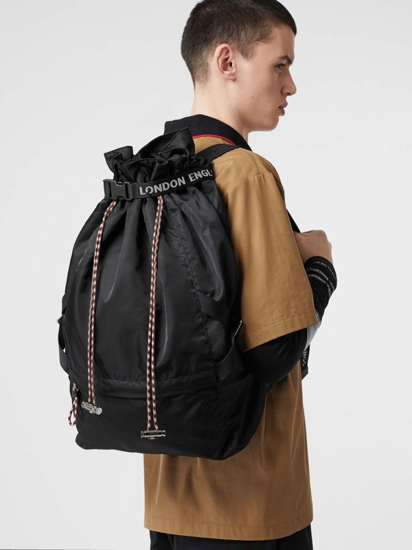 Logo Detail Nylon Drawcord Backpack in Black - Men | Burberry - cell image 2