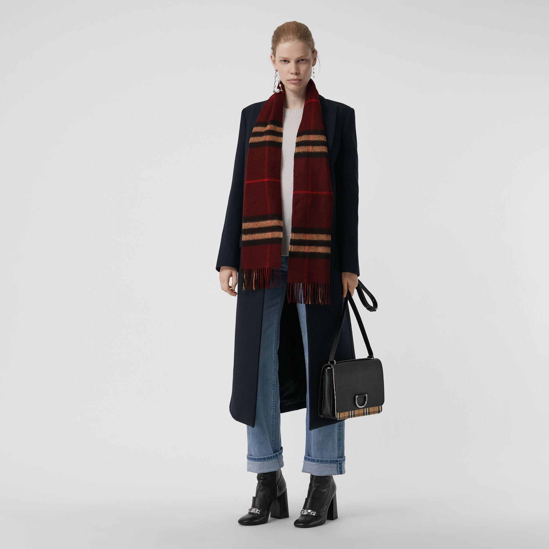 The Classic Check Cashmere Scarf in Claret | Burberry Australia - gallery image 2