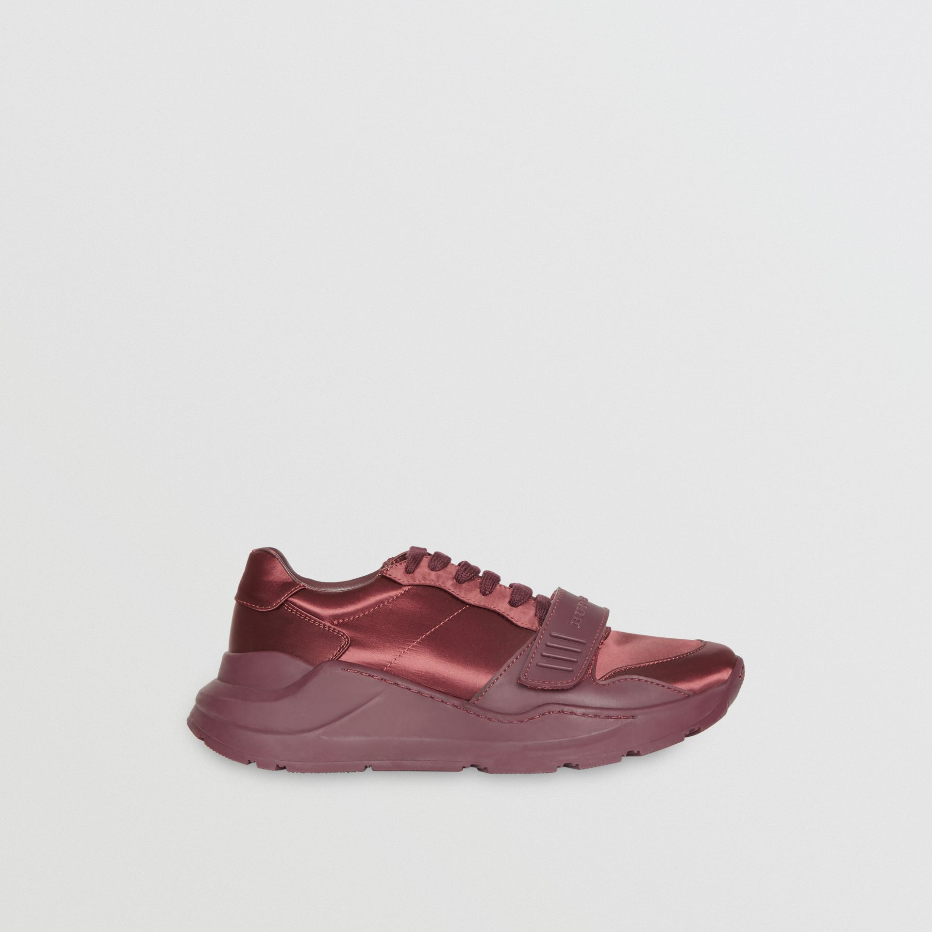 Satin Sneakers in Claret - Women | Burberry - gallery image 5
