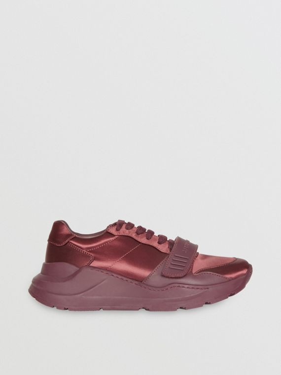 Satin Sneakers in Claret