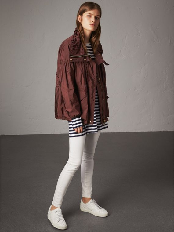 Packaway Hood Lightweight Rain Jacket in Deep Burgundy - Women | Burberry Singapore