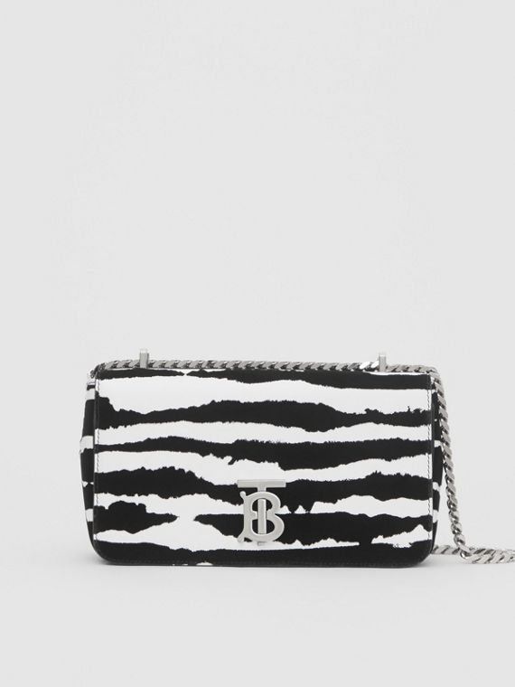 Bolso Lola pequeño en piel flocada con estampado estilo acuarela (Blanco/negro)