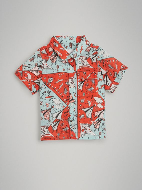 Short-sleeve Picnic Print Linen Shirt in Bright Aqua - Boy | Burberry United Kingdom - cell image 2