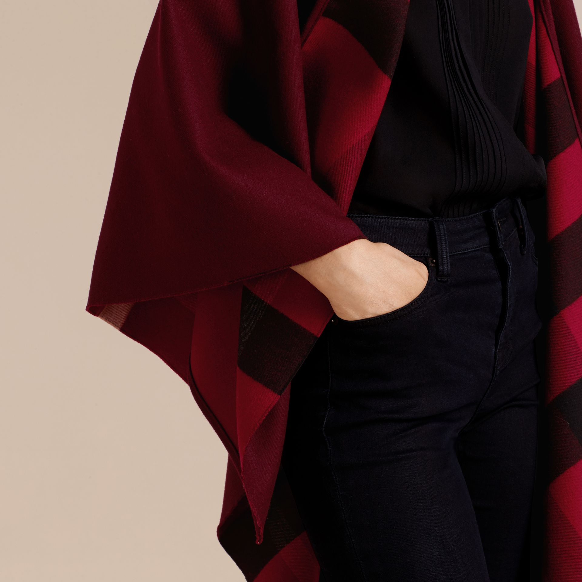 Reversible Check Merino Wool Poncho in Parade Red - Women | Burberry - gallery image 5