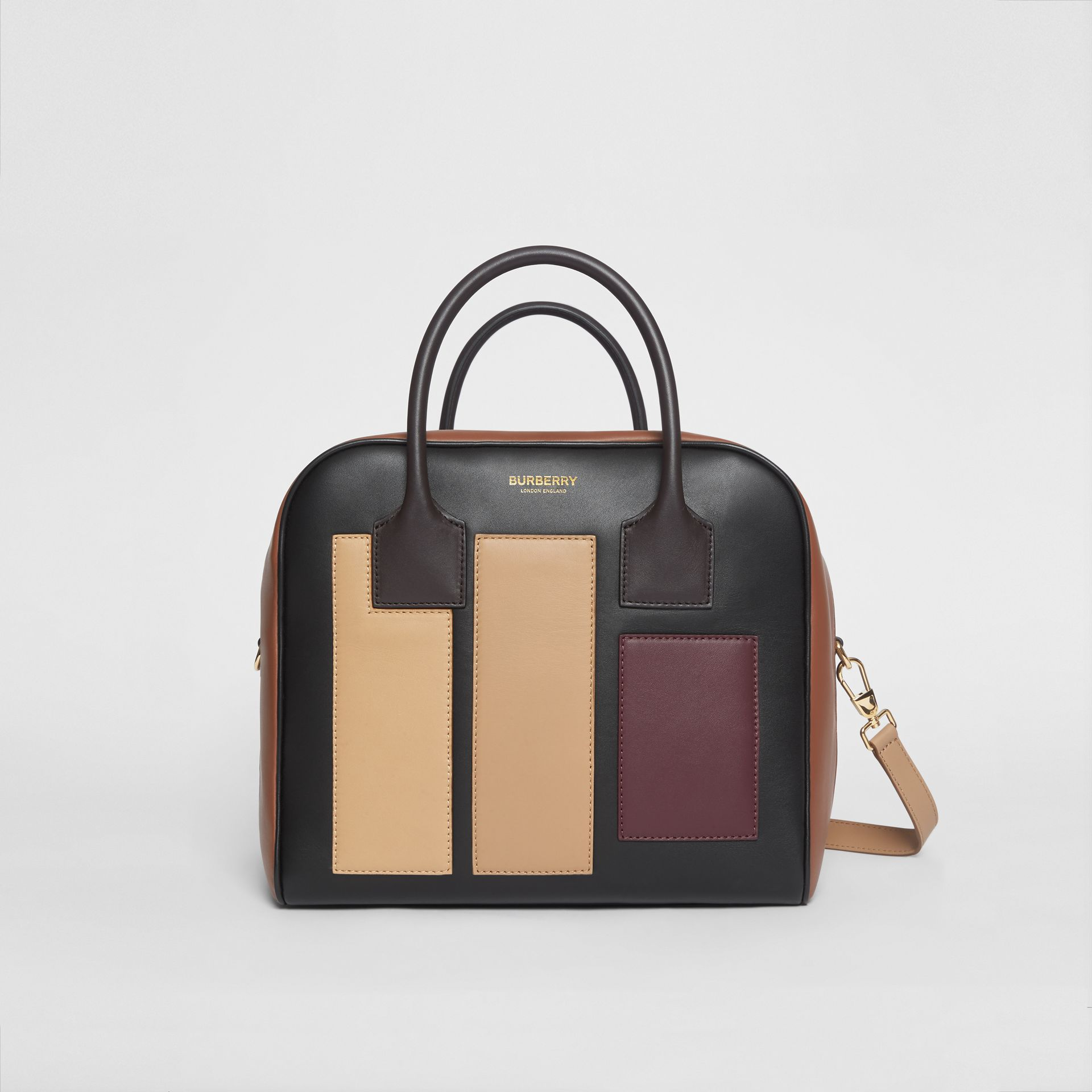 Medium Panelled Leather Cube Bag in Black - Women | Burberry - gallery image 0