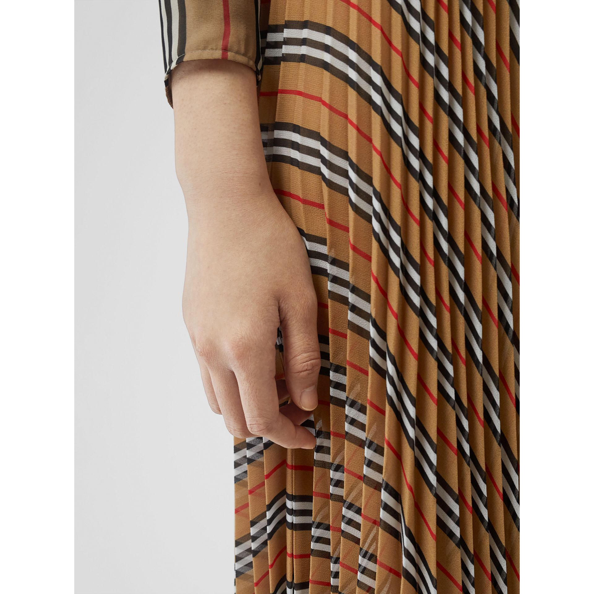 Icon Stripe Pleated A-line Skirt in Antique Yellow - Women | Burberry - gallery image 1