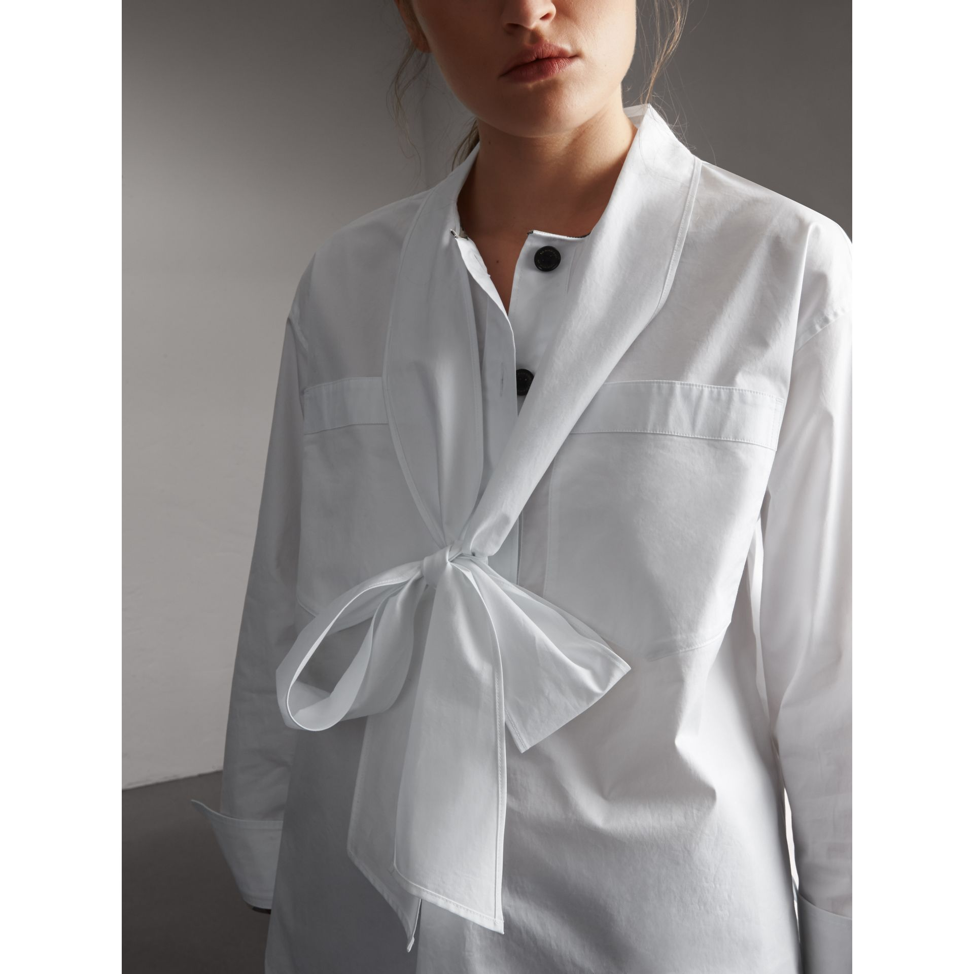 Neck Tie Stretch Cotton Shirt in White - Women | Burberry - gallery image 5