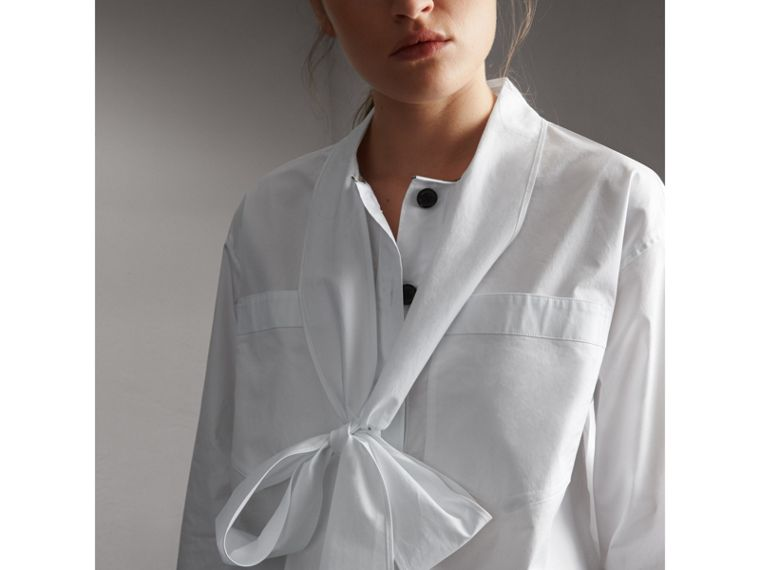 Neck Tie Stretch Cotton Shirt in White - Women | Burberry - cell image 4