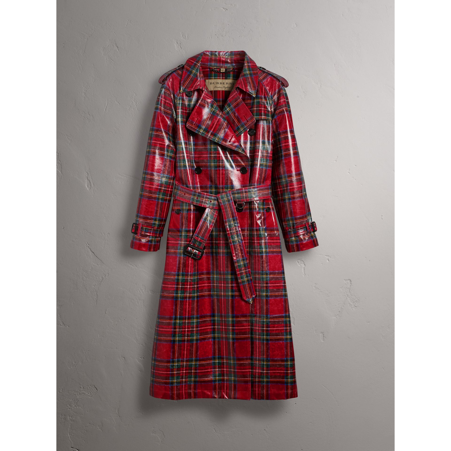 Laminated Tartan Wool Trench Coat in Bright Red - Women | Burberry - gallery image 3
