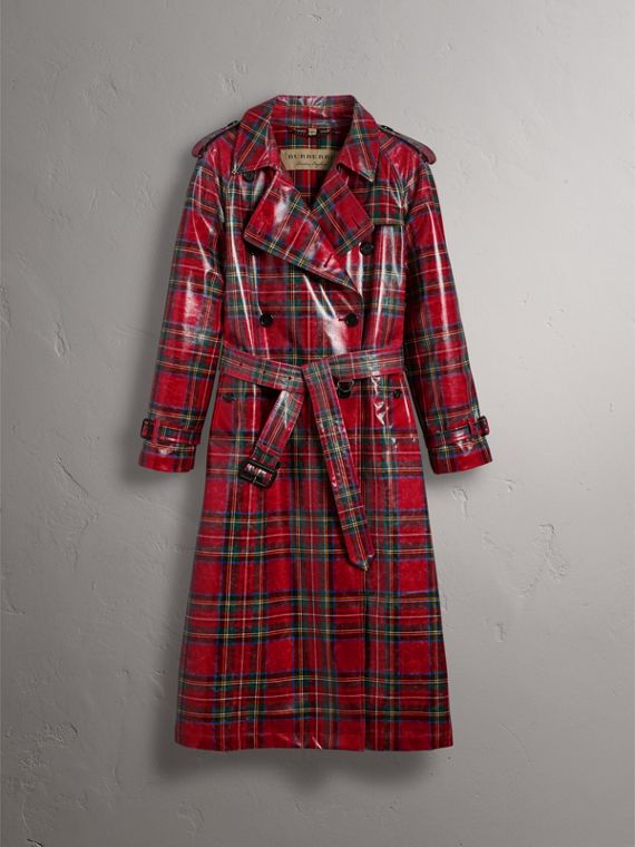 Laminated Tartan Wool Trench Coat in Bright Red - Women | Burberry - cell image 3