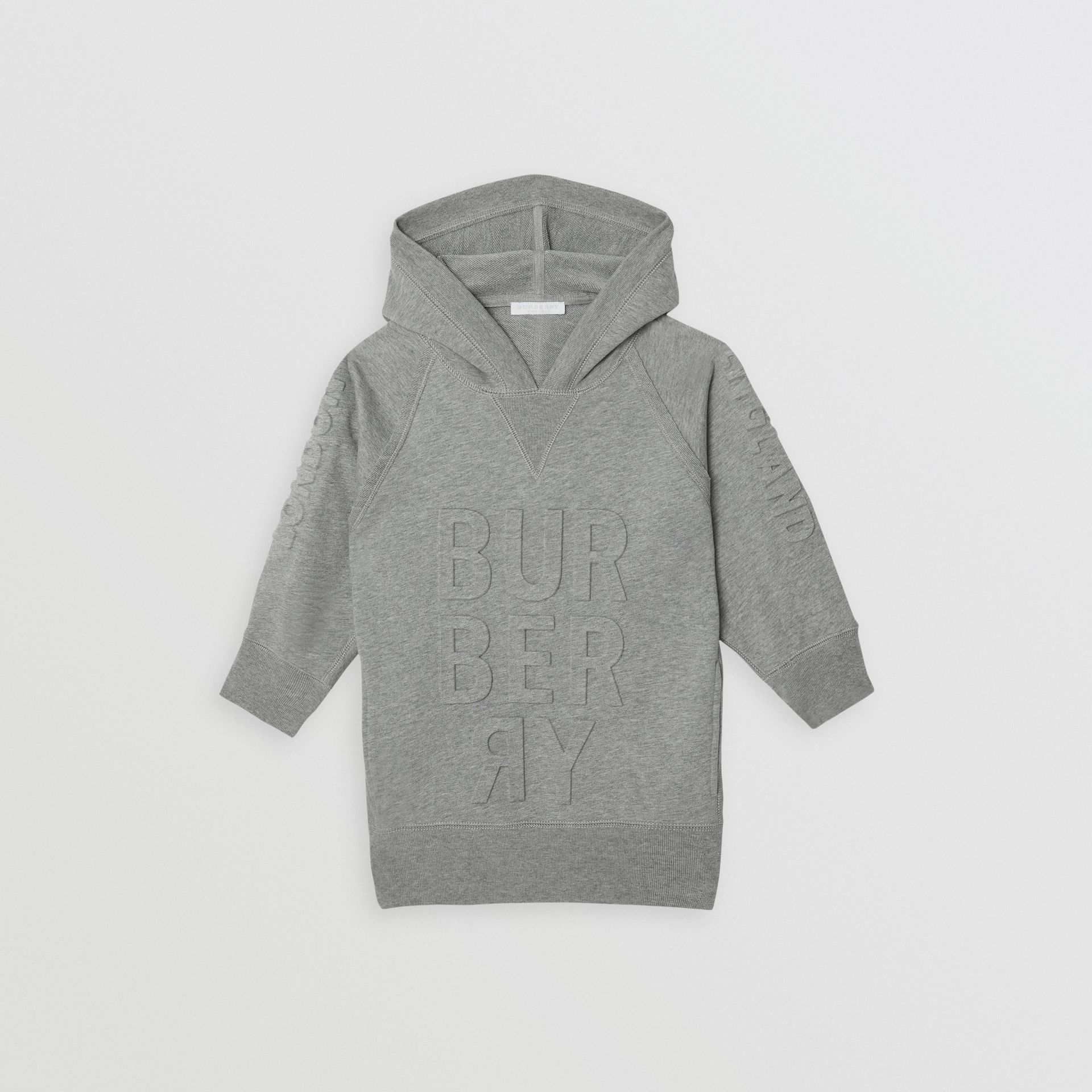 Embossed Logo Cotton Sweater Dress in Grey Melange | Burberry - gallery image 0