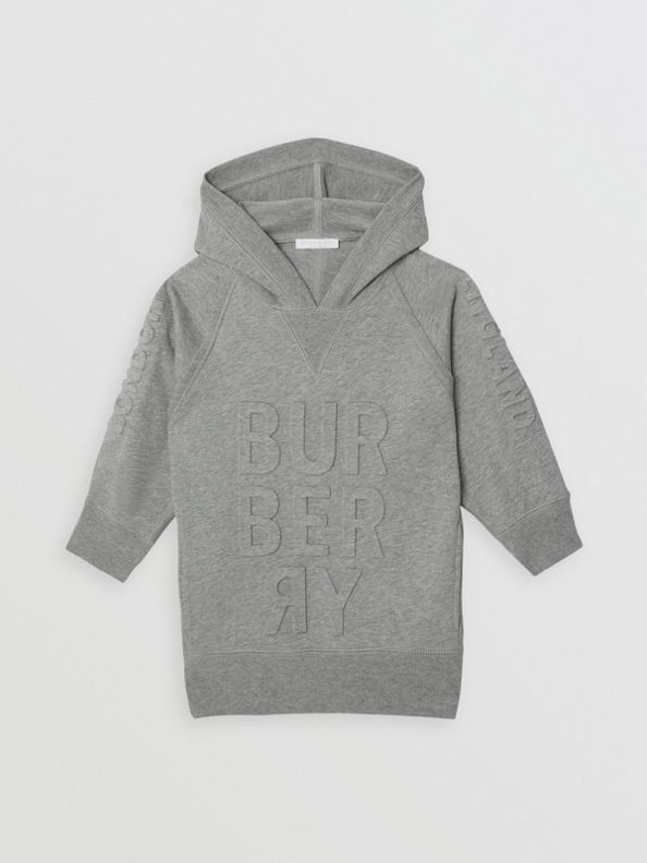Embossed Logo Cotton Sweater Dress in Grey Melange