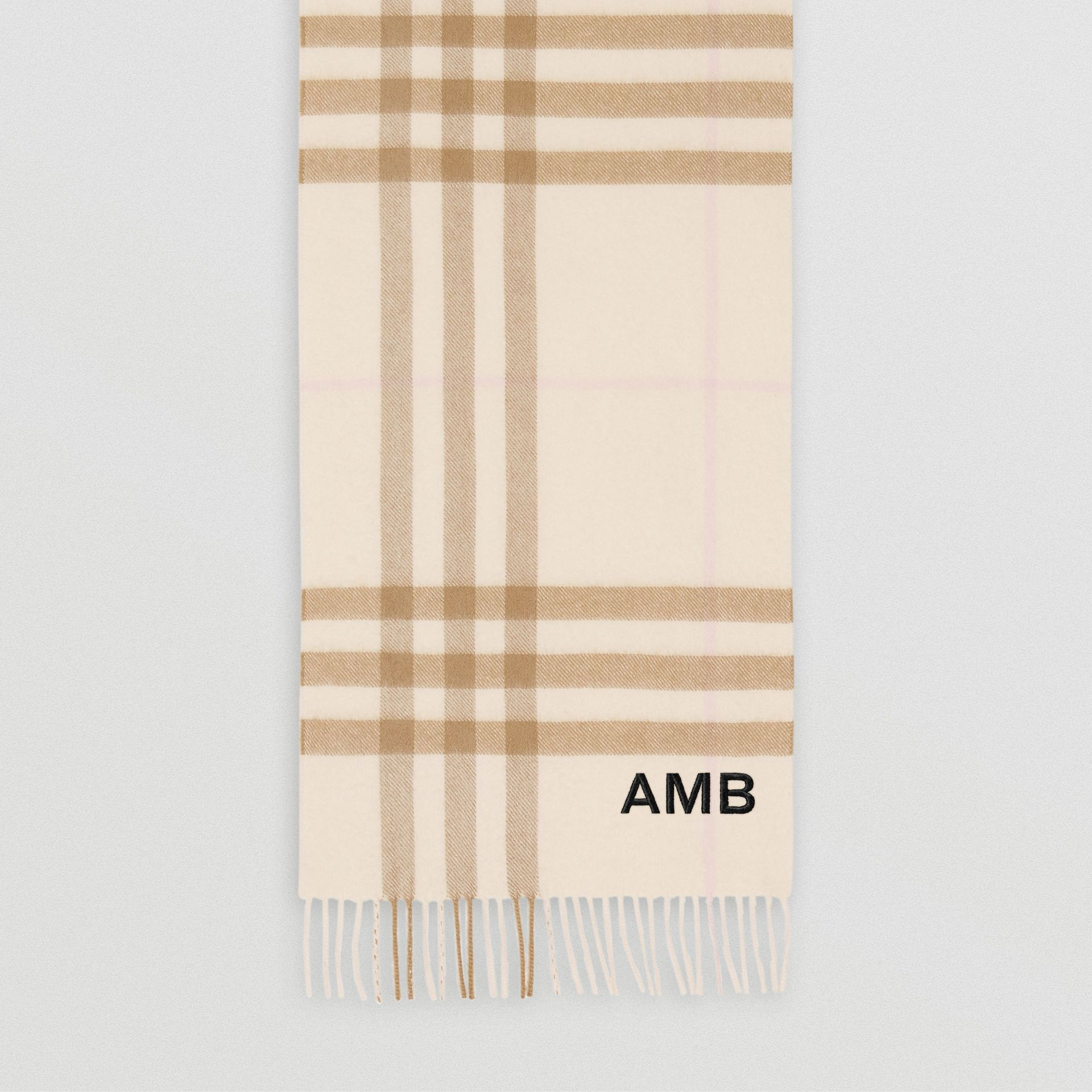 The Classic Check Cashmere Scarf in White/alabaster | Burberry Canada - gallery image 8