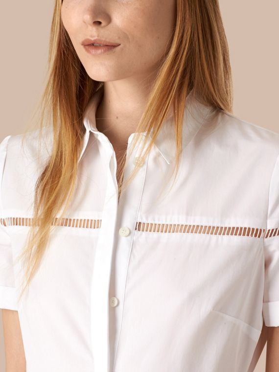 White Lace Detail Cotton Shirt Dress - cell image 3