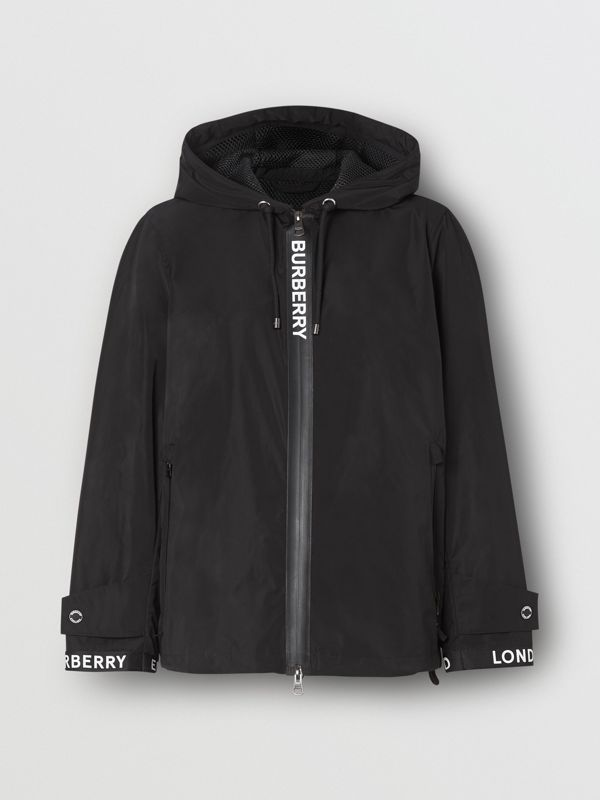 Logo Detail Shape-memory Taffeta Hooded Jacket in Black - Women | Burberry United Kingdom - cell image 3