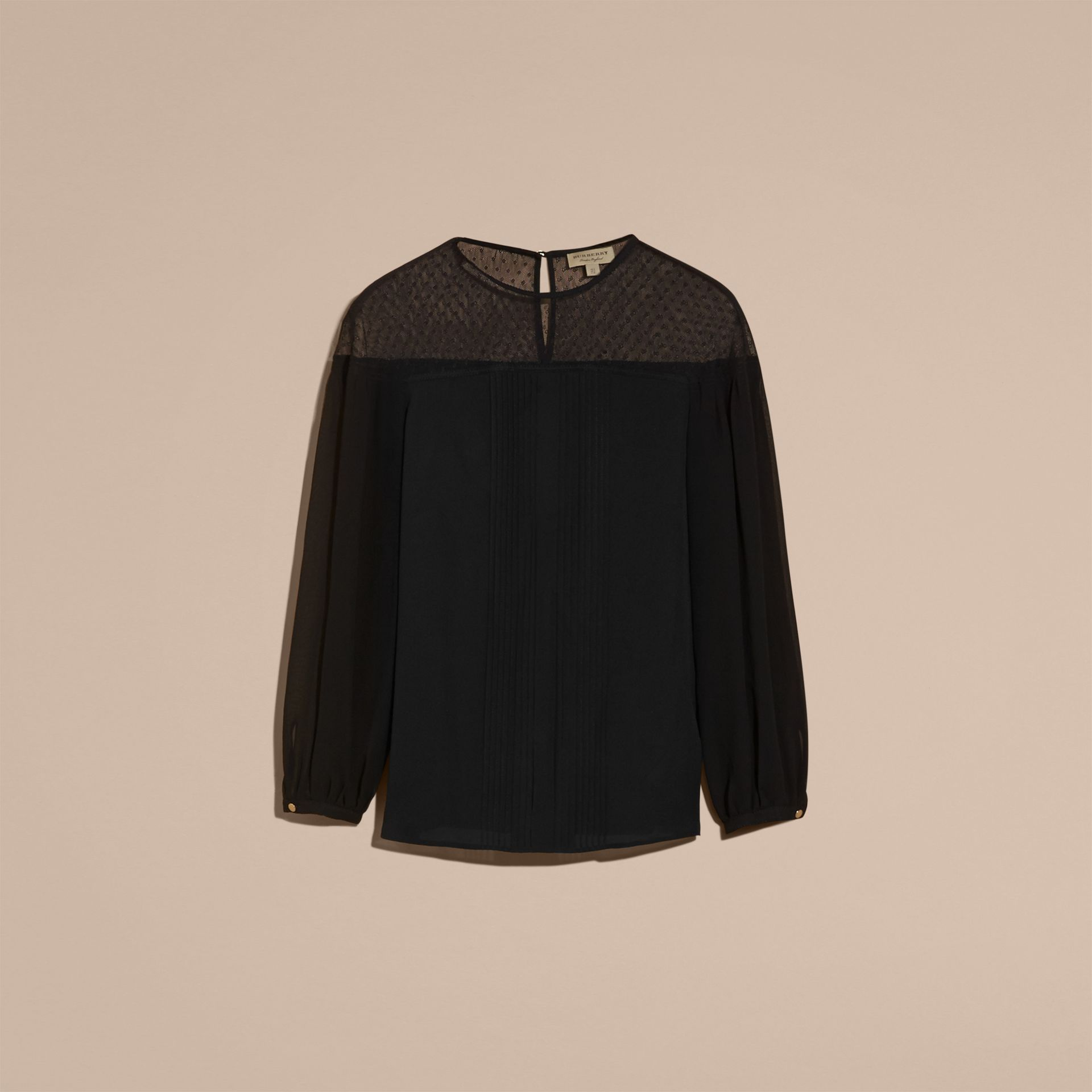Black Silk Blouse with Net Yoke and Pintuck Detail - gallery image 4