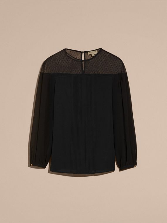 Black Silk Blouse with Net Yoke and Pintuck Detail - cell image 3
