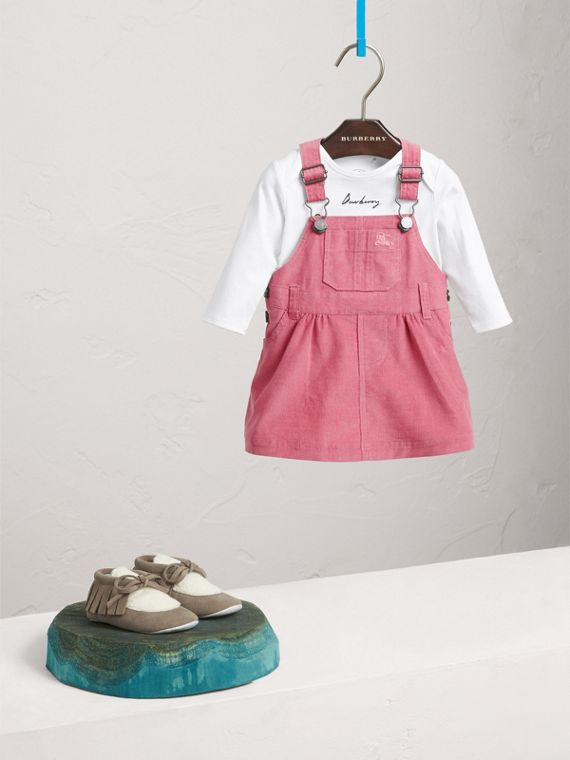 Cotton Corduroy Pinafore Dress in Mauve Pink