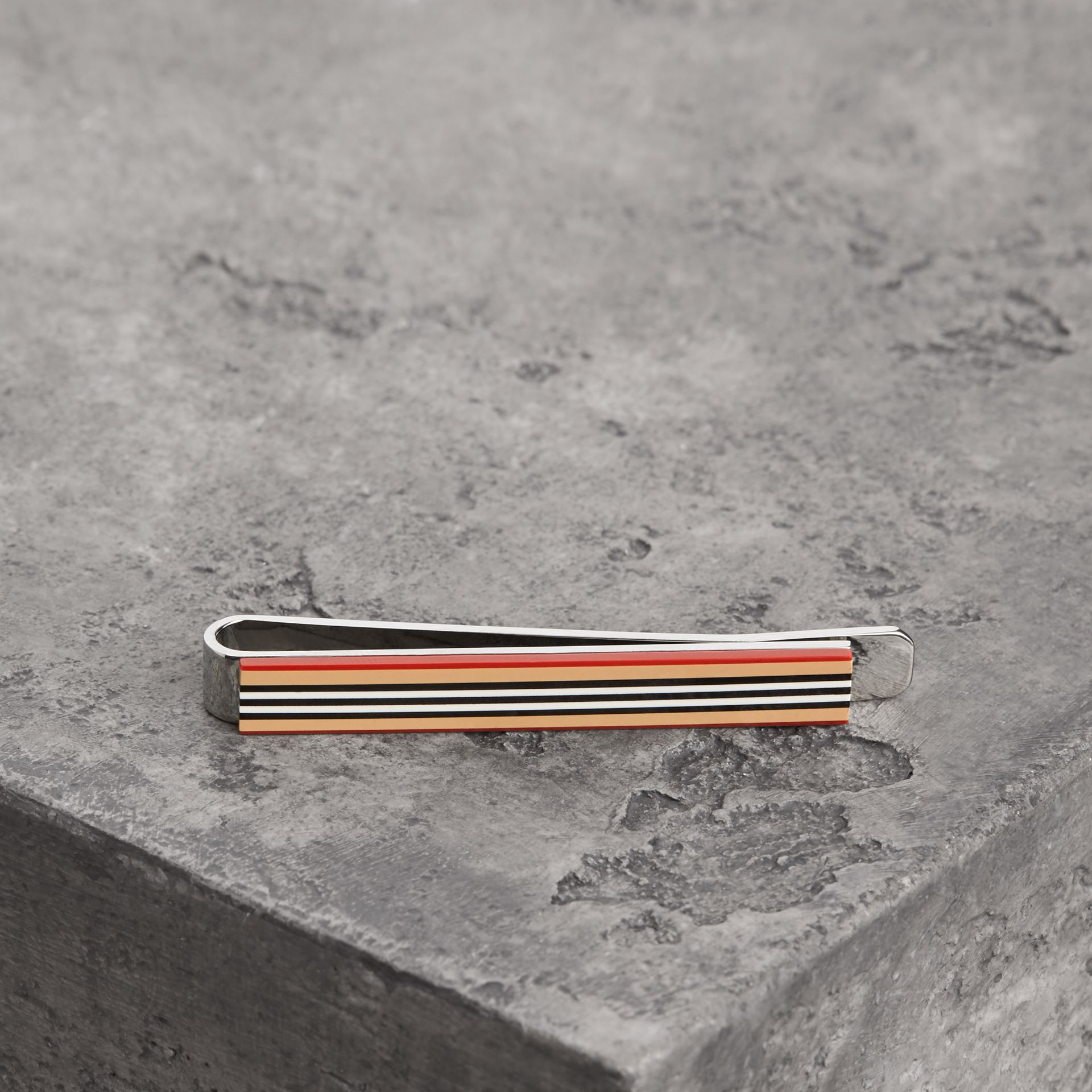 Heritage Stripe Bronze Tie Bar in Vintage Check - Men | Burberry - gallery image 0