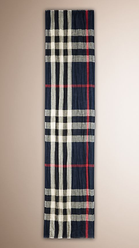 Navy check Check Linen Crinkled Scarf - Image 4