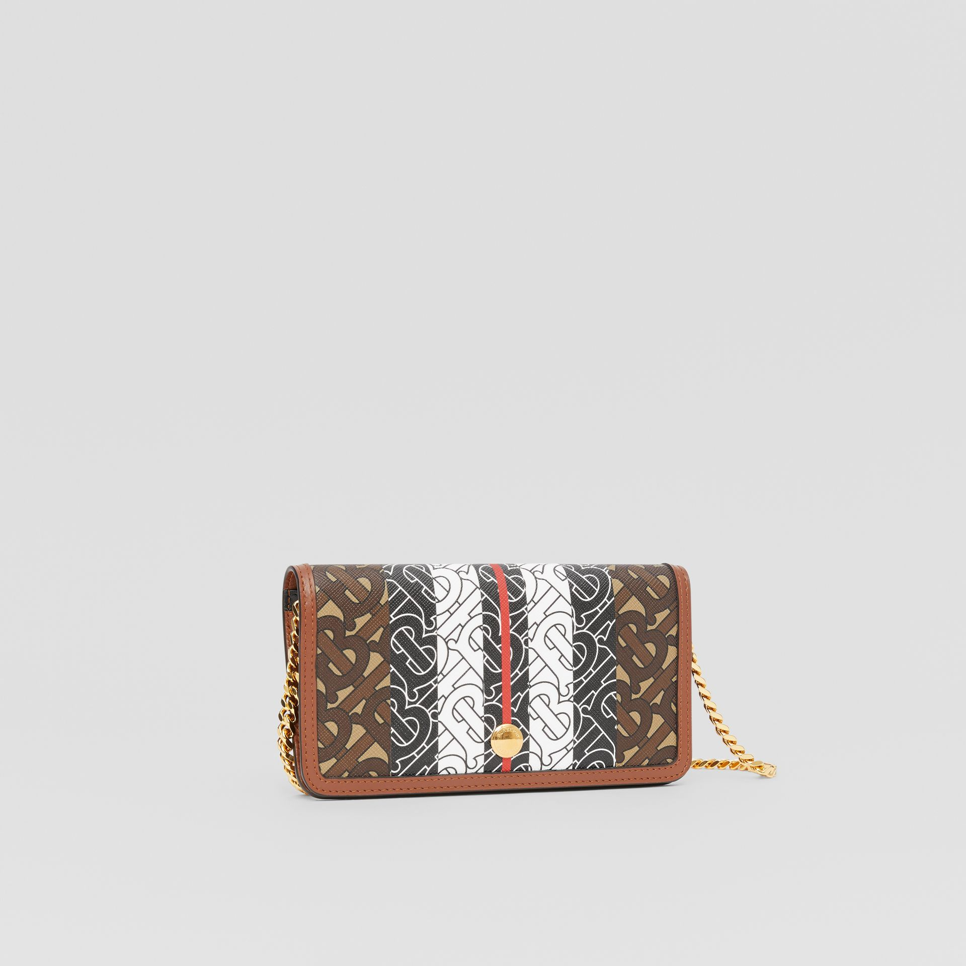 Monogram Stripe E-canvas Phone Wallet with Strap in Bridle Brown - Women | Burberry United Kingdom - gallery image 4