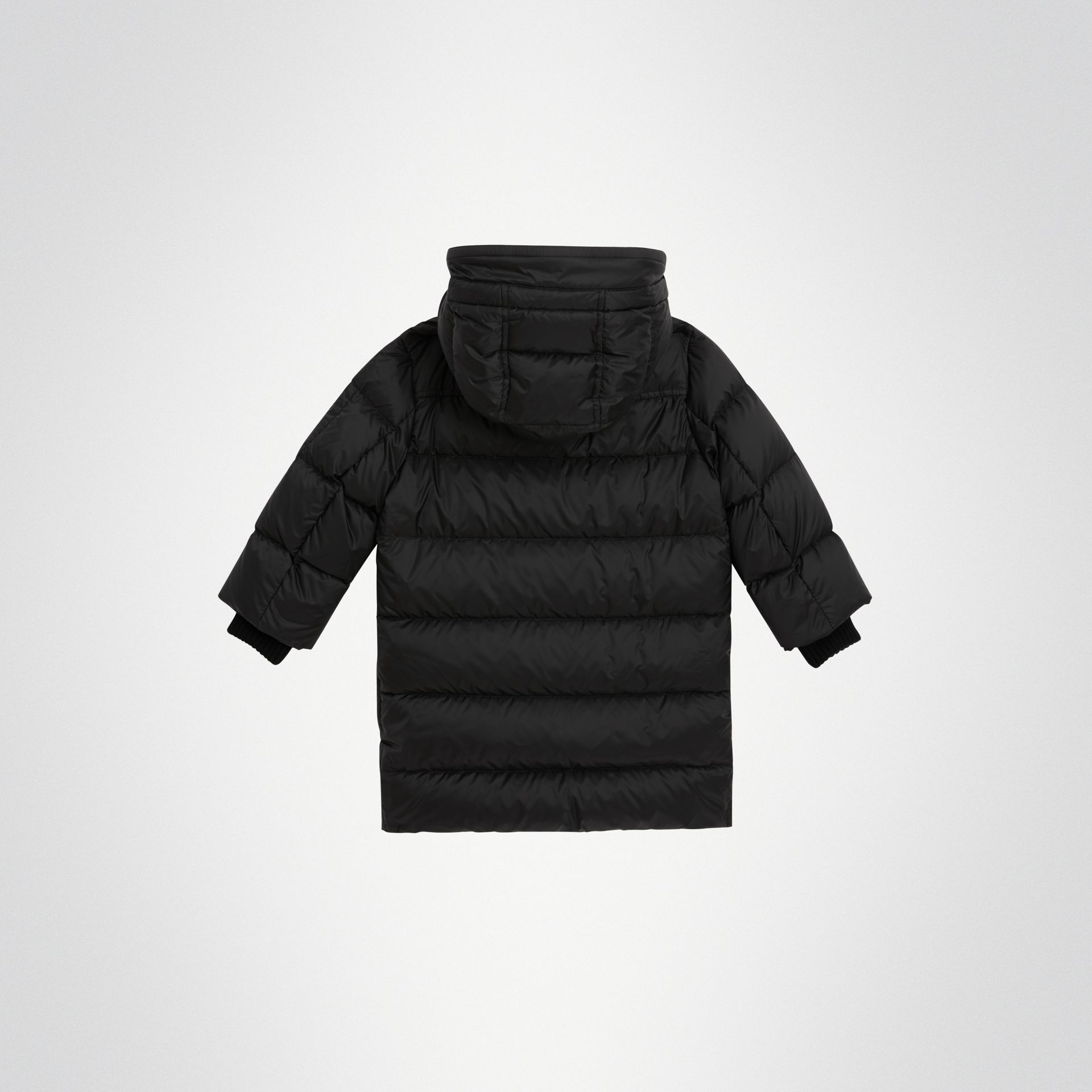 Detachable Hood Down-filled Puffer Coat in Black | Burberry - gallery image 3