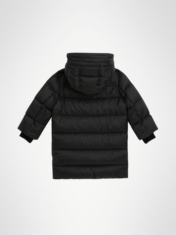 Detachable Hood Down-filled Puffer Coat in Black | Burberry - cell image 3