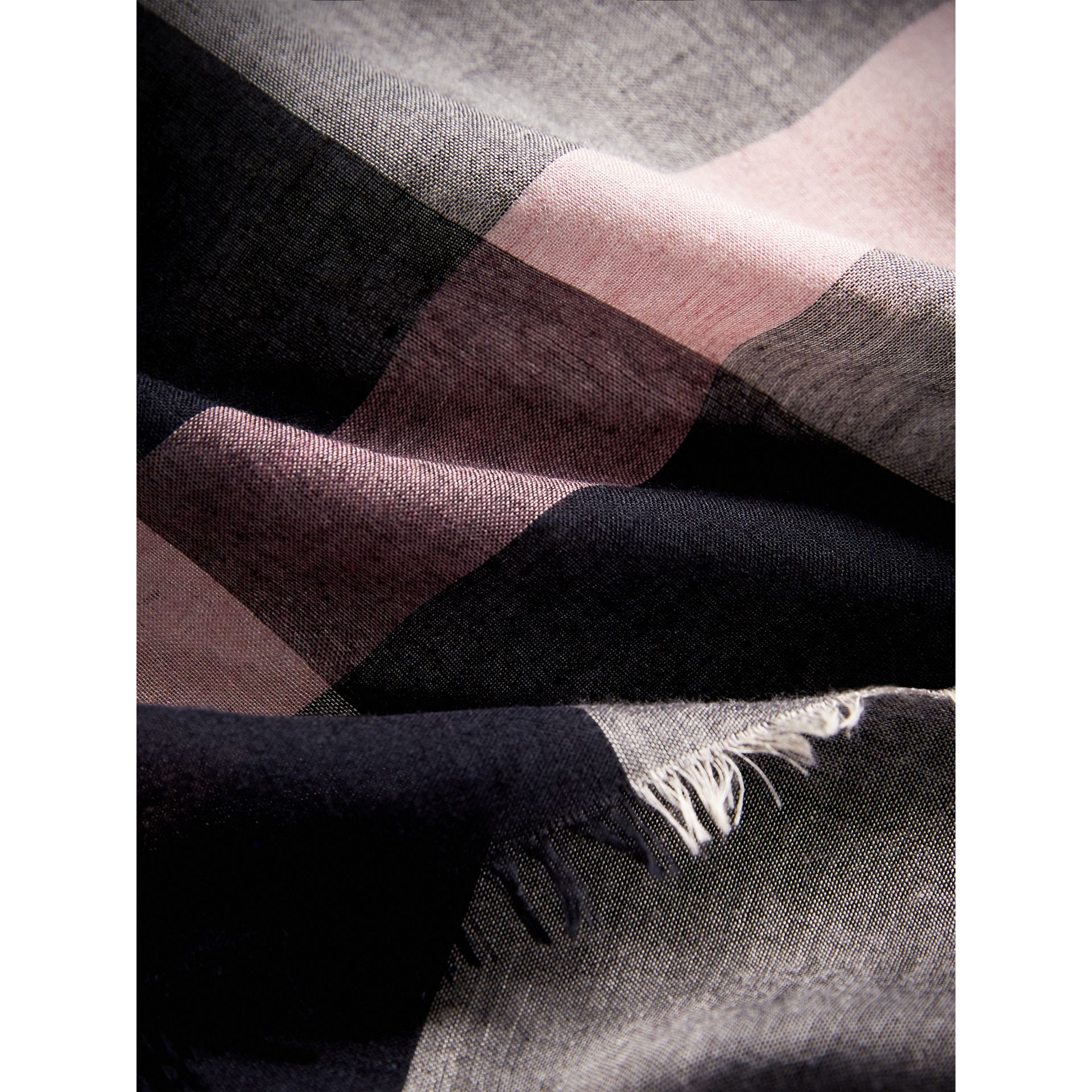 Check Modal and Wool Square Scarf in Antique Rose - Women | Burberry United Kingdom - gallery image 2