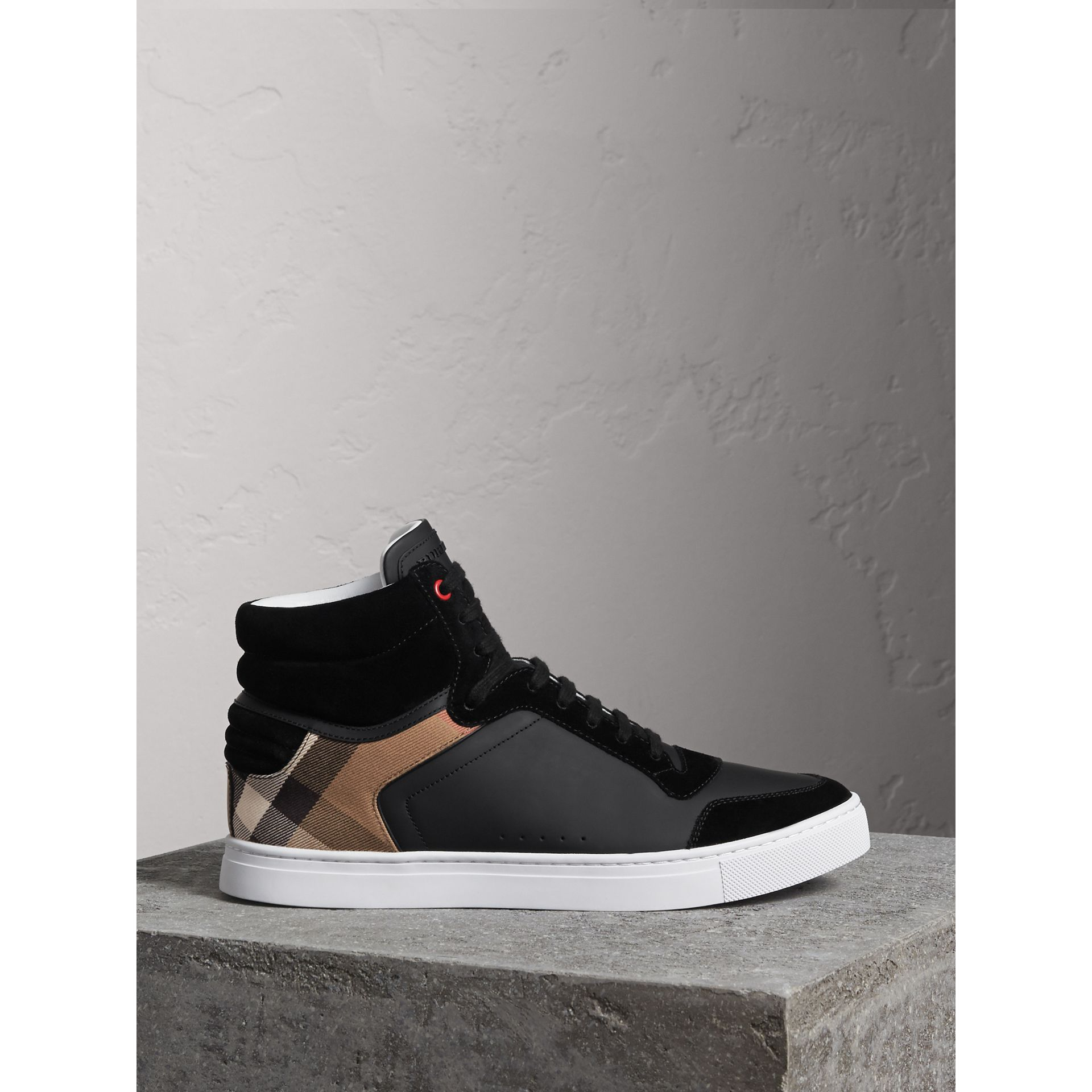Leather and House Check High-top Sneakers in Black - Men | Burberry - gallery image 0