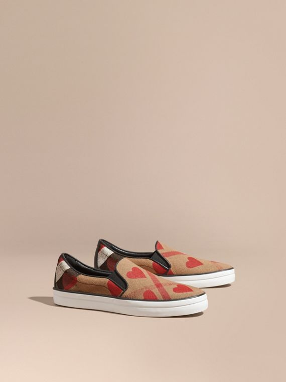 Check and Heart Print Slip-on Trainers Check/parade Red
