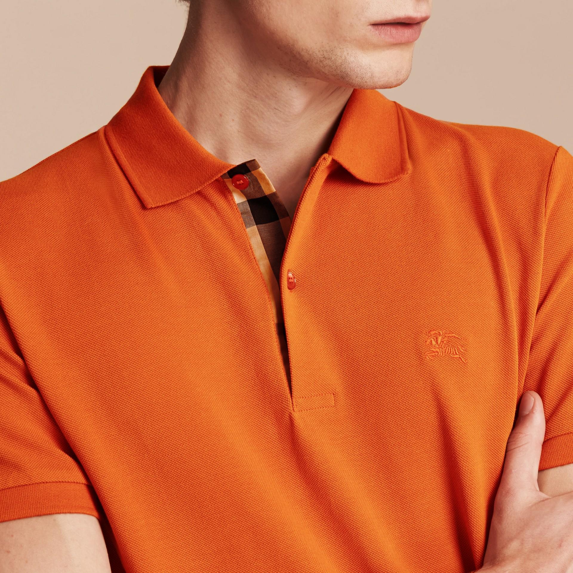 Check Placket Cotton Piqué Polo Shirt Clementine - gallery image 5