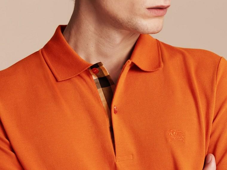 Check Placket Cotton Piqué Polo Shirt Clementine - cell image 4