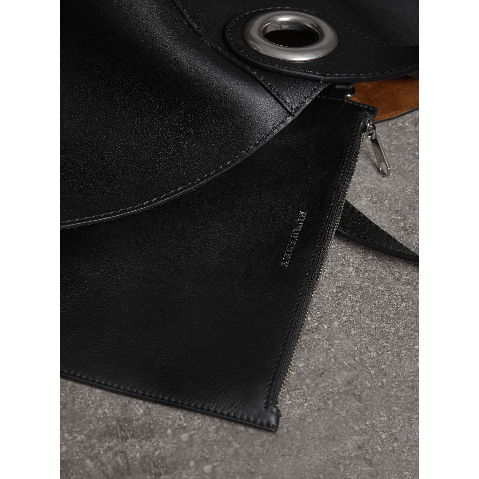 The Large Leather Grommet Detail Tote in Black | Burberry United Kingdom - gallery image 9