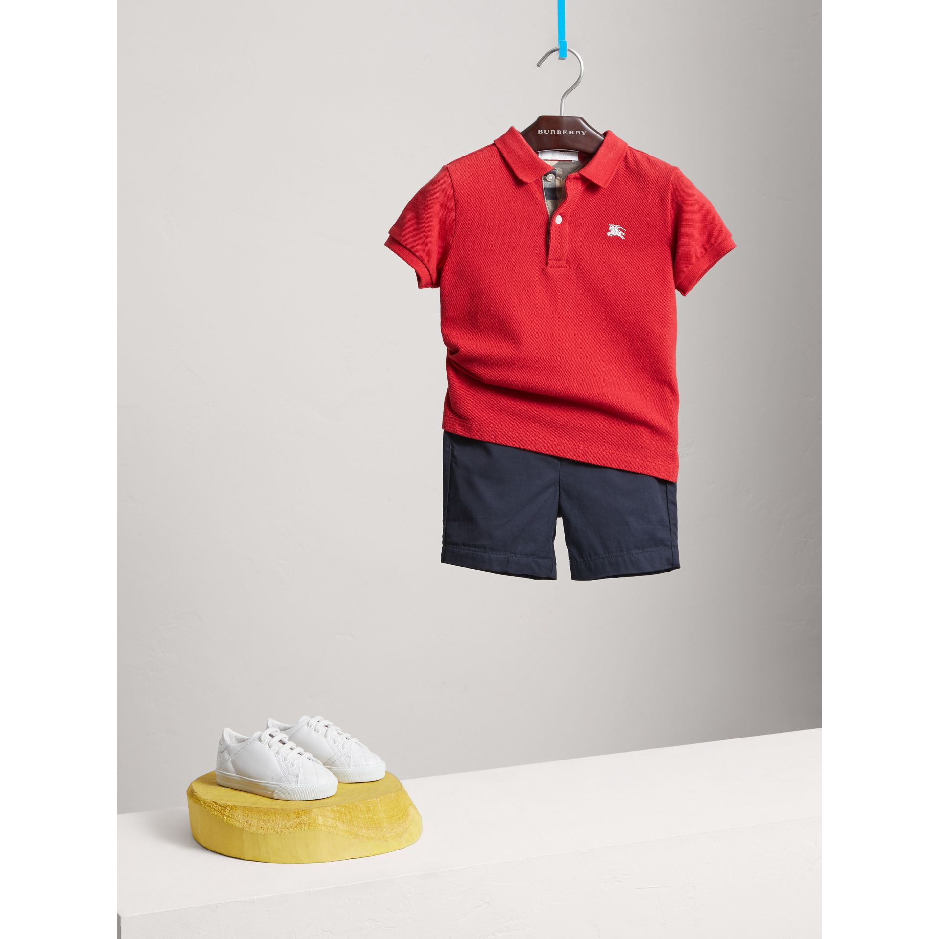 Check Placket Polo Shirt in Military Red - Boy | Burberry - gallery image 0